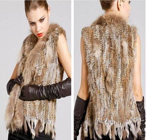 Ladies Genuine Knitted Rabbit Fur Vest Raccoon Fur Trimming Tassels Women Fur Natural Waistcoat Lady Gilet colete pele new arrive free shipi