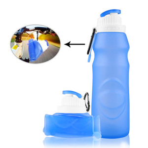 Wholesale 550MLCreative Collapsible Foldable Silicone Sports Water Bottle Camping CanteensTravel Cups