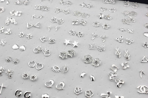 Wholesale Jewelry pairs Mixed Styles Flower Cross Animal Shiny Silver Plated Stud Earrings ME147