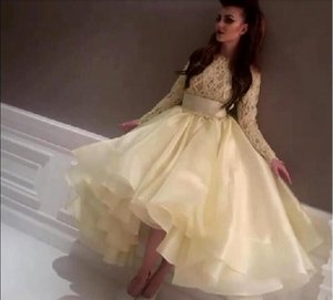 Wholesale Hot Saudi Arabic Evening Dresses Light Yellow Long Sleeves Lace Organza High Low Prom Gowns Party Dresses