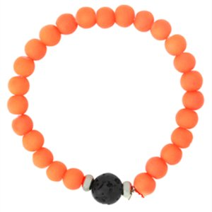 Wholesale Health Indivual Silicone Neon Orange Bead Lava Stone Essential Oil Diffuser Bracelet for Kids Children
