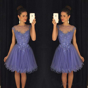 2018 Prom Party Dresses With Cap Sleeves Knee Length Party Dresses Christmas Ball Gowns Beaded Appliques Cheap Bridesmaid Dresses on Sale