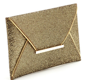 Wholesale 1pcs woman fashion Glittered Gold Color Envelope Clutch Party Bag Evening Purse pu cover Handbag cm