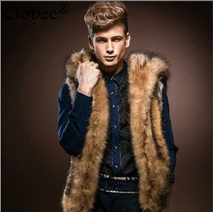 Wholesale Wholesale- 2017 New Style Sleeveless Hooded Design Casual Thick Warm Men's Faux Fur Vest Fashion Winter High Street Fur Coat 6XL 5XL V620