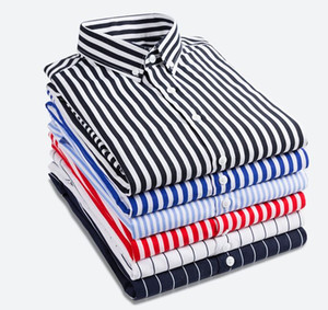 New arrival Plus size Men's Clothing Male all-match classic striped Shirts Men slim Casual Long sleeve Shirt M,L,XL,2XL,3XL,4XL,5XL on Sale