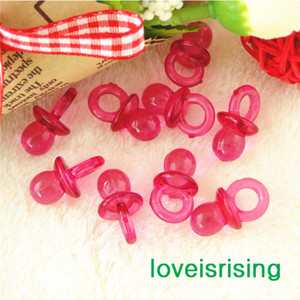 Free shipping--500pcs Mini Acrylic Clear Fuchsia Baby Pacifier Baby Shower Favors~Cute Charms ~cupcake decorating