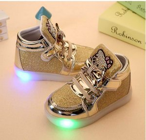 Wholesale Baby Girls LED Light Shoes Toddler Anti Slip Sports Boots Kids Sneakers Children Cartoon Flats shoes colors