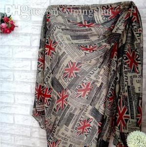 Wholesale New Fashion Newspaper Union Jack UK English Flag Print Scarf viscose cotton voile bali yarn scarf Shawl Wrap