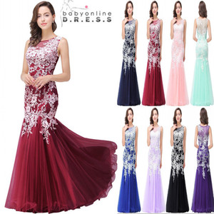 Wholesale 2018 New Pink Cheap In Stock Designer Mermaid Prom Dresses Sleeveless Lace Applique Sexy Back Evening Party Gowns CPS360