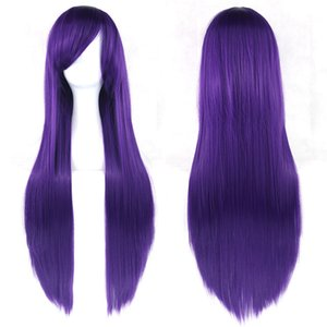 hanzi_beauty new long straight cosplay wigs multicolor Ladies womens 80cm 32inch Halloween Heat Resistant Synthetic Full Hair on Sale