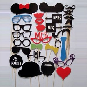 Wholesale 31 set Photo Booth Props Glasses Mustache Lip On A Stick Wedding Birthday Party Fun Favor