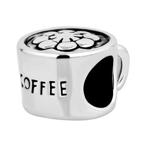 Fashion women jewelry DIY European flower coffee cup metal bead loose charms fits Pandora charm bracelet