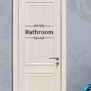 Toilet Bathroom Wall Art Murals Sticker WC Door Decoration wallpaper Posters Fashionable Restroom Door Decal Decor Sticker