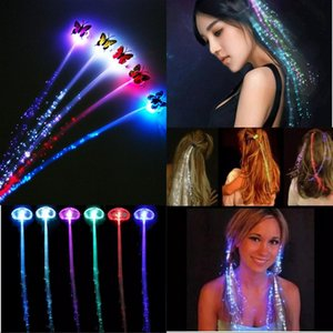 Luminous Light Up Party Colorful Flash LED Hair Braid Hairpin Luminous Braid Optical Fiber Wire Event & Party Supplies