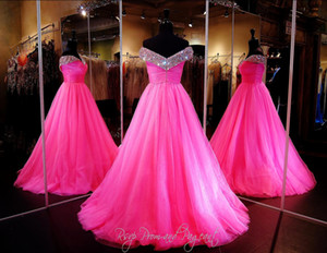 Hot Pink Tulle Girls Pageant Dresses Custom Make Beaded Off-shoulder Zipper Full length A-line Girls Sixteen Dresses on Sale