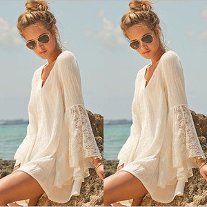 Wholesale-Women Vintage Hippie Boho Bell Sleeves Gypsy Festival Holiday Lace Mini Dress