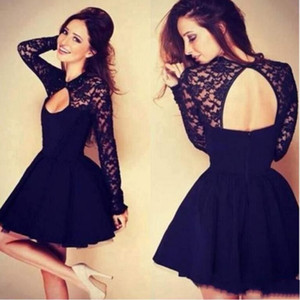 Wholesale Navy Long Sleeve Short Party Dresses 2015 Jewel A line Backless Lace Fashion Prom Graduation Dress High Quality