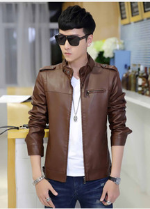 Wholesale Spring Autumn Brand Leather Jacket Men Slim Short Stand Collar Jaqueta Couro Bomber Jacket Faux Leather Fur Coat Suede