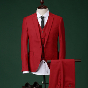 Wholesale red tuxedos resale online - Red Wedding Groom Tuxedos Notched Lapel Custom Made Men Suits Three Piece One Button Groomsmen Suits Jacket Pants Vest