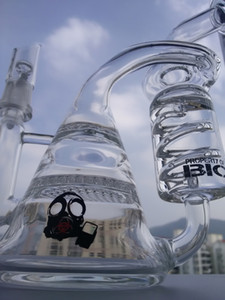glass bong recycler dab rig water pipes 8.5 inch honeycomb percolator glass bubbler heady Pipe free shipping