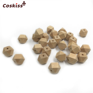 Wholesale 100pcs Size in in mm Wooden Geometric Hexagon Beads Nursing Chewing Wooden Teether Toys For DIY Baby Teether Accessories
