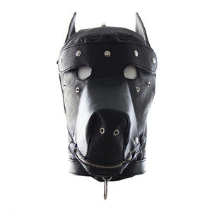 Wholesale adult mask latex for sale - Group buy Faux Leather Dog Mask Sexy Latex Realistic Head Bondage Hood Adult Sex Dog Mask Black Fetish Erotic Sex Toys for Couples