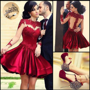 Wholesale 2018 Perfect Illusion Neckine Prom Dresses Red Bodice High Collar Sheer Long Sleeves Evening Ball Gowns Short Mini Party Prom Dress Newest