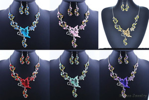 6 Colors Women Butterfly Flower Rhinestone Pendant Statement Necklace Earrings Jewelry Set Fashion Jewelry Bridal Wedding Dress Jewelry Sets