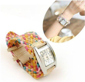 Wholesale best hot korea rope woven cracked leather watch ladies knit band wide belt rainbow wristwatch colors retail