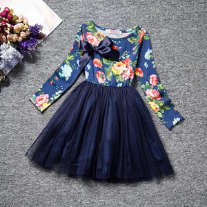 Wholesale Latested design korean children clothes long sleeve spring baby girls floral dress kids girl s princess cotton dresses girl veil tutu skirt