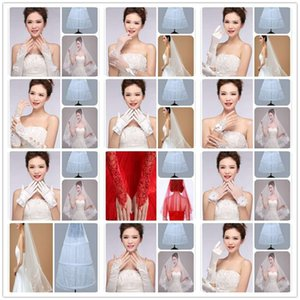 Wholesale bridal veils wedding dress white lace headdress top grade wedding dress red three piece package cheapest price