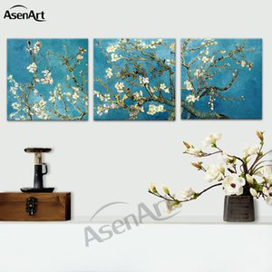 Starry Night Almond Blossoms By Van Gogh Reproduction Painting on Canvas Print Wall Art 3 Pieces Set Picture Home Decor