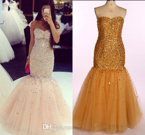 Wholesale Real Image Prom Dresses Sweetheart Sheer Neck Beading Crystals Mermaid Evening Dresses Long Tulle Zipper Back Quinceanera Pageant Gowns