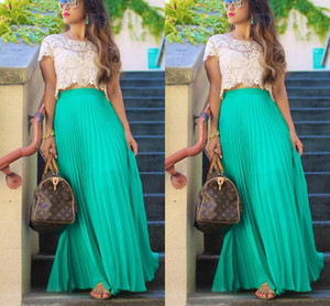 Pleated Chiffon Long Skirts For Women Fashion Summer High Waist Maxi Skirts Custom Made Green Beach Girls Party Skirt