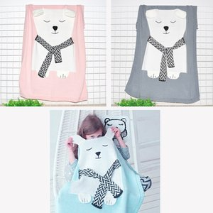 Wholesale Lovely Baby Bedding Bear Knitting Blanket Warm Muslin Swaddle Kids Bath Towel Newborn Wrap Blanket x110cm
