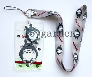 Wholesale New Gray My Neighbor Totoro Lanyard strap Cell Phone ID Key Holder pouch soft dangler