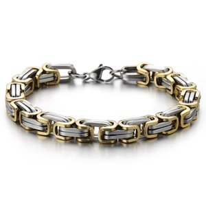 Masculine Style Stainless Steel Mens Braided Link Bracelet Silver Gold Two-tone Polished