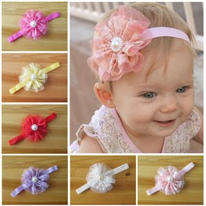 Wholesale Elastic bobbles bow hairband Hair Accessories kids Lace Big Flower Pearl Princess Babies Girl Hair Band Headband D671M