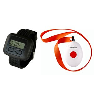 Wholesale SINGCALL.Wireless Nursing Call Paging System for restaruant, hospital,coffee shop,1 Watch Receiver with a Button Bell,APE6600-APE160