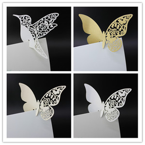Wholesale Wine Glass Cards Wedding Party Decorations Cake Toppers Name Card Butterfly Bird Shaped Laser Cut Card Escort Card