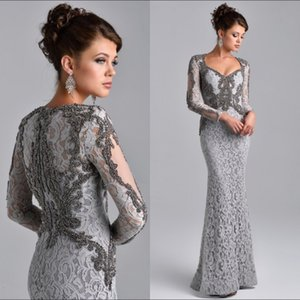 Modest Beading Lace Evening Dresses Silver Grey Mermaid Lace Mother of the Bride Dress Custom Long Sleeves Floor Length Party Gowns on Sale