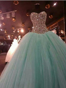 Wholesale Bling Bling Shiny Rhiestone Crystal Prom Dresses Real Image Mint Green Tulle Sweetheart Quinceanera Gown Sweet Dress