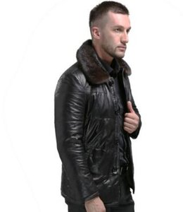 Wholesale 2017 Winter Genuine Leather Coat Men Thick Down Leather Coat Mink Collar Detachable Mens Leather Jacket White Duck