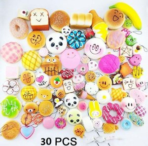 30pcs Kawaii Squishies fruit Bun Toast Donut Bread toy for cell phone Bag Charm Straps keychains mixed Squishy Imitate Toys