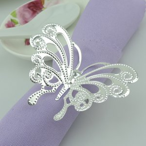 Wholesale New arrival Silver Butterfly Napkin Rings Metal Wedding Table Cloth Ring for Hotel Wedding Banquet Decoration Accessories