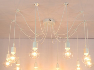 Wholesale Retro chandelier E26 E27 spider lamp pendant bulb holder Edison diy lighting lamps lanterns accessories messenger wire exclude bulbs ship