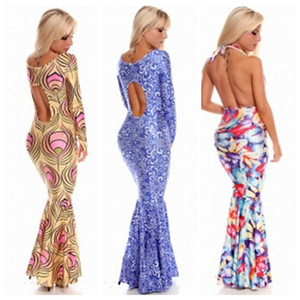 Wholesale Factory Sale New Fashion Woman Elegant Printed Long Sleeve Fish Tail Long Dress Evening Party Dress S M L