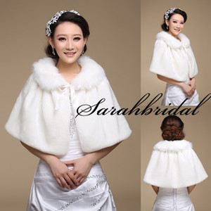 Wholesale Winter Wrap New Amazing Ivory Faux Fur Shawl Bridal For Wedding Dress Cape Stole Winter Bolero Coat Jacket Shrug Free Size Wrap