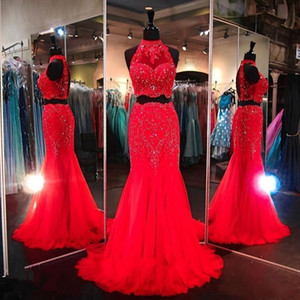 Wholesale two piece rhinestone mermaid dress resale online - Prom Dresses High Neck Red Royal Blue Fuchsia Tulle Crystal Rhinestones Illusion Hollow Back Two Piece Long Mermaid Party Evening Gowns