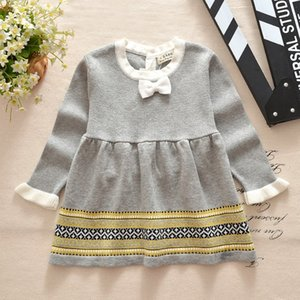 Wholesale Baby girls Long Sleeve Princess Dresses Baby Girls Solid Sweater dress Children Knitted Net yarn Dress top quality